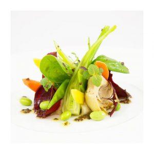 Fraîcheur de légumes de saison à la truffe, huile douce et cristalline de bresaola by #pavillonroyal